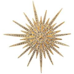Chanel Gold Starburst Brooch Pin