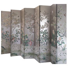 Magnificent and Monumental Silver Leaf Hand-Painted Pair of Five-Panel Screens