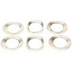 Set of Six Vintage Silver Plate Modernist Sculptural Napkin Rings