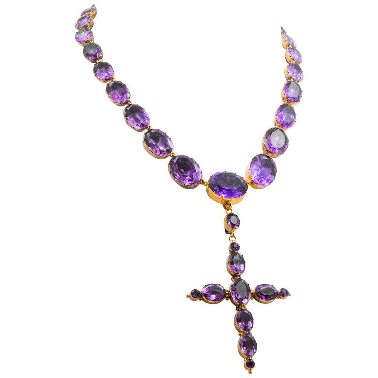 Georgian Era 15K Yellow Gold 158ctw Amethyst Convertible Cross Necklace  For Sale