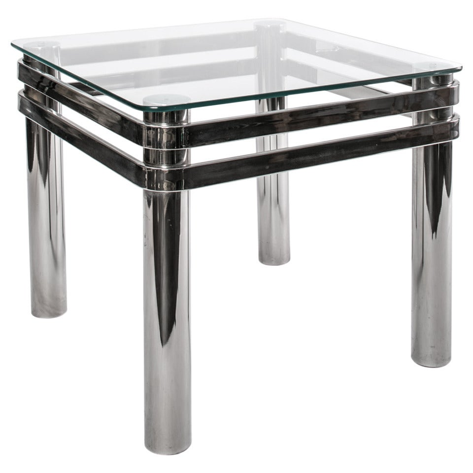 Chrome And Glass 1970s Side Table At 1stdibs