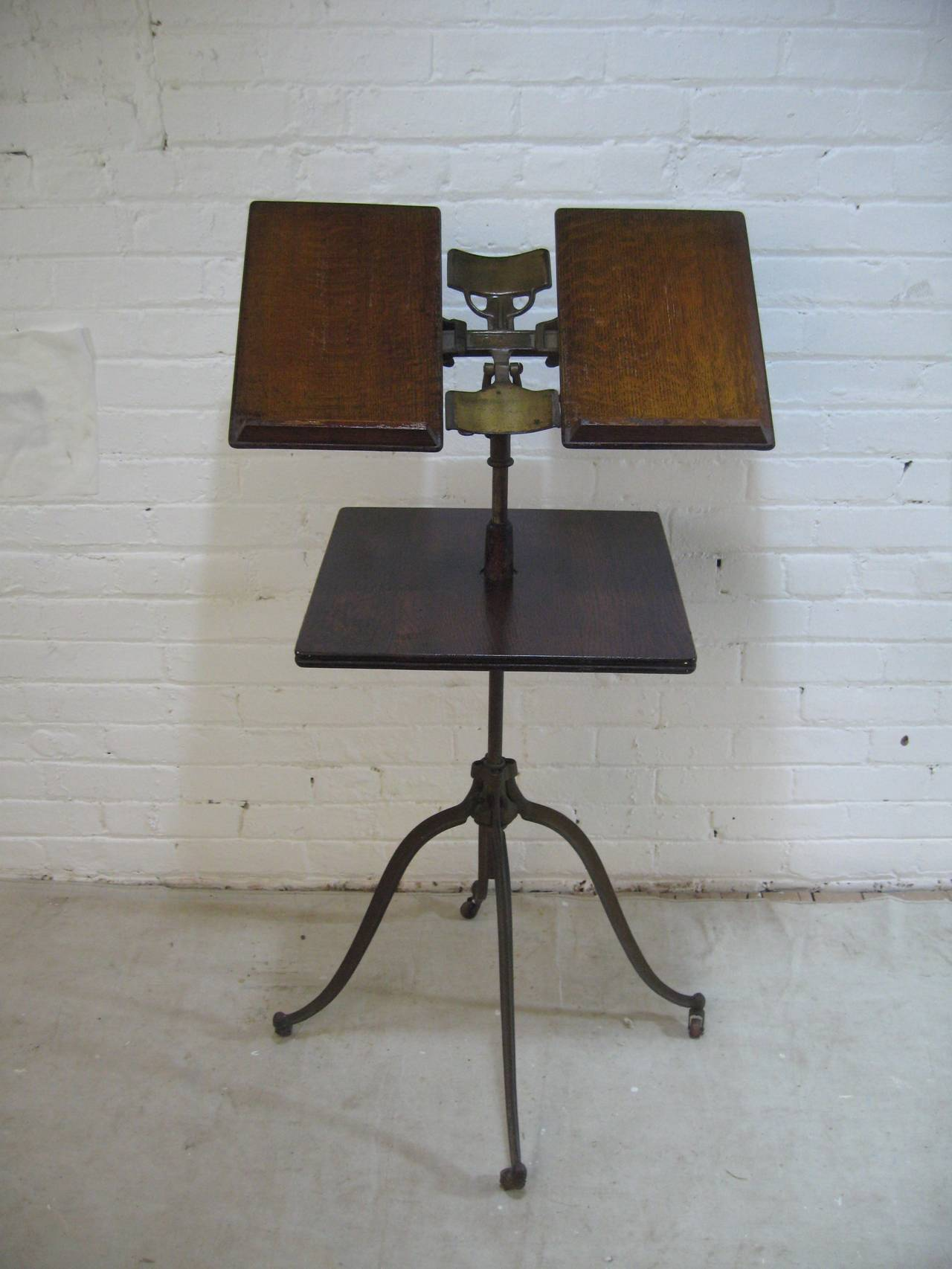 lambie oak and iron industrial book stand at 1stdibs