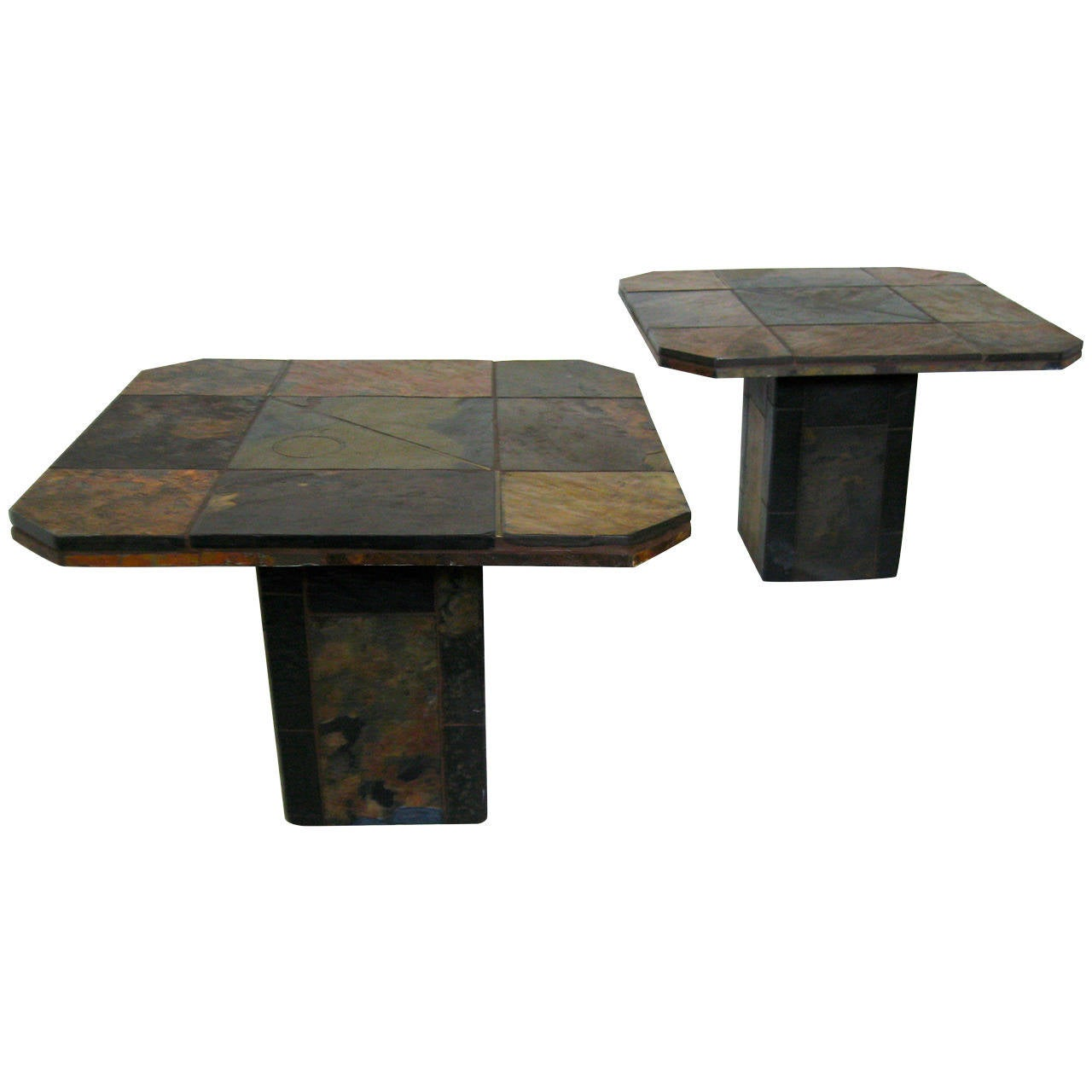 Brutalist Slate And Brass Inlaid End Tables At 1stdibs. Full resolution  photograph, nominally Width 1280 Height 1280 pixels, photograph with #5C4F40.