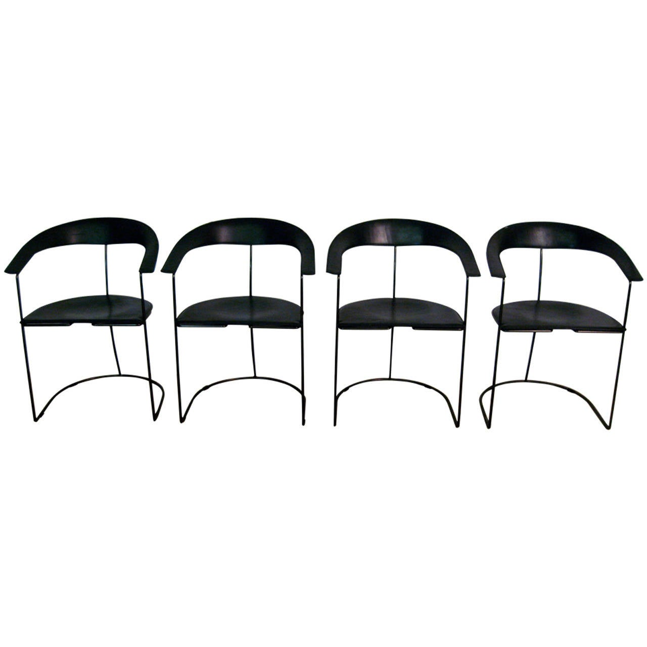 Set Of Four Arrben Italy Hard Leather Armchairs At 1stdibs