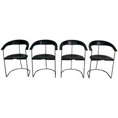 Set of Four Arrben Italy Hard Leather Armchairs