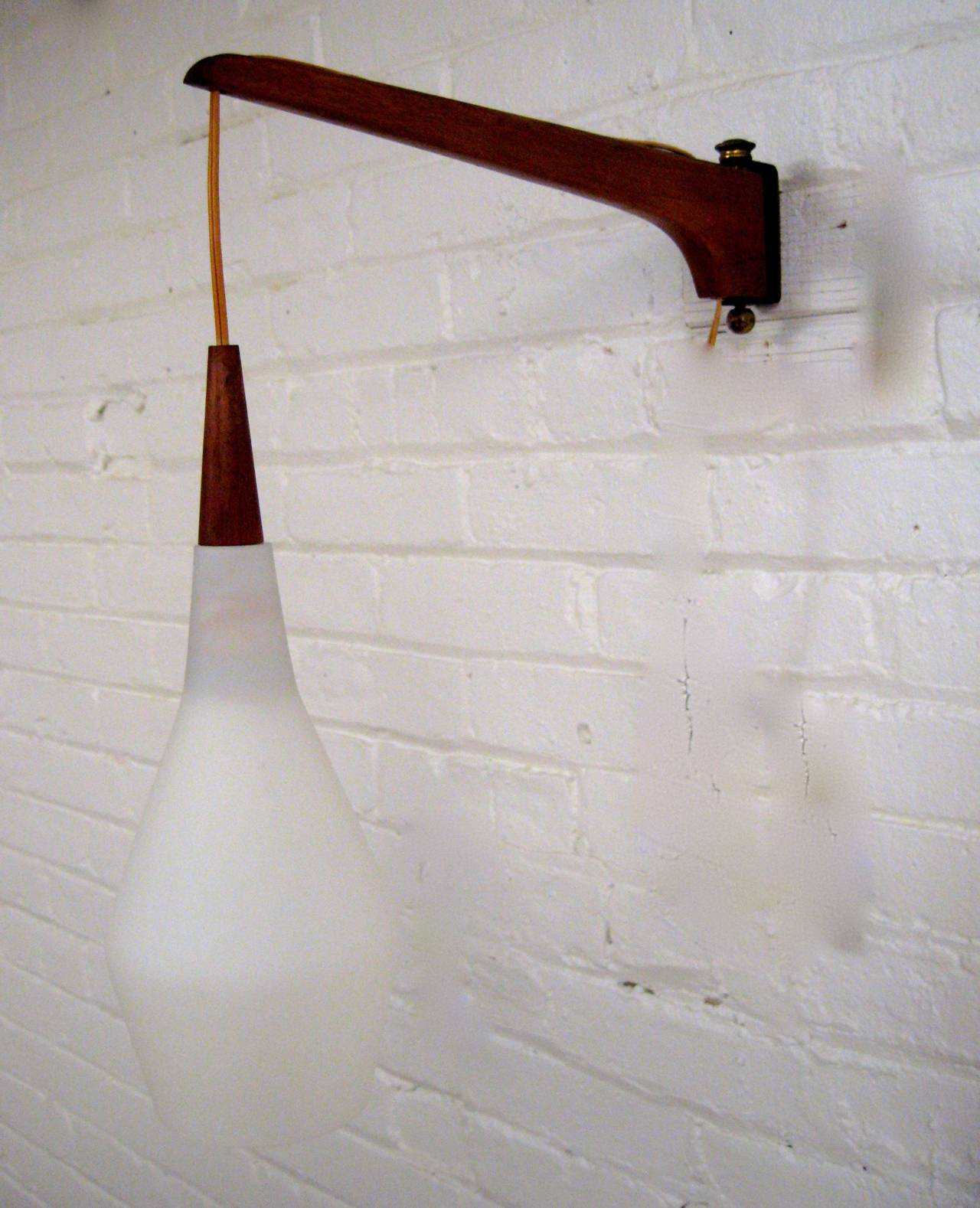 Wall Sconces Mid Century Modern : Mid Century Modern Swing Arm Cased Glass Sconce at 1stdibs