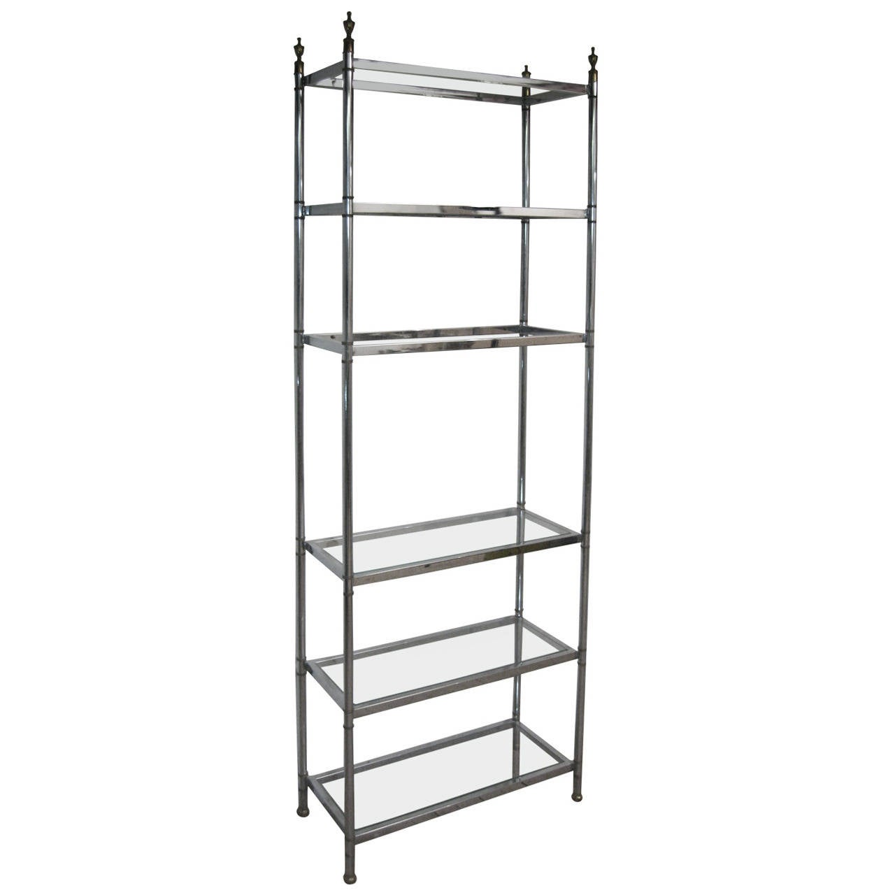 Jansen neoclassical style chrome and brass etagere at 1stdibs - Etagere cases carrees ...