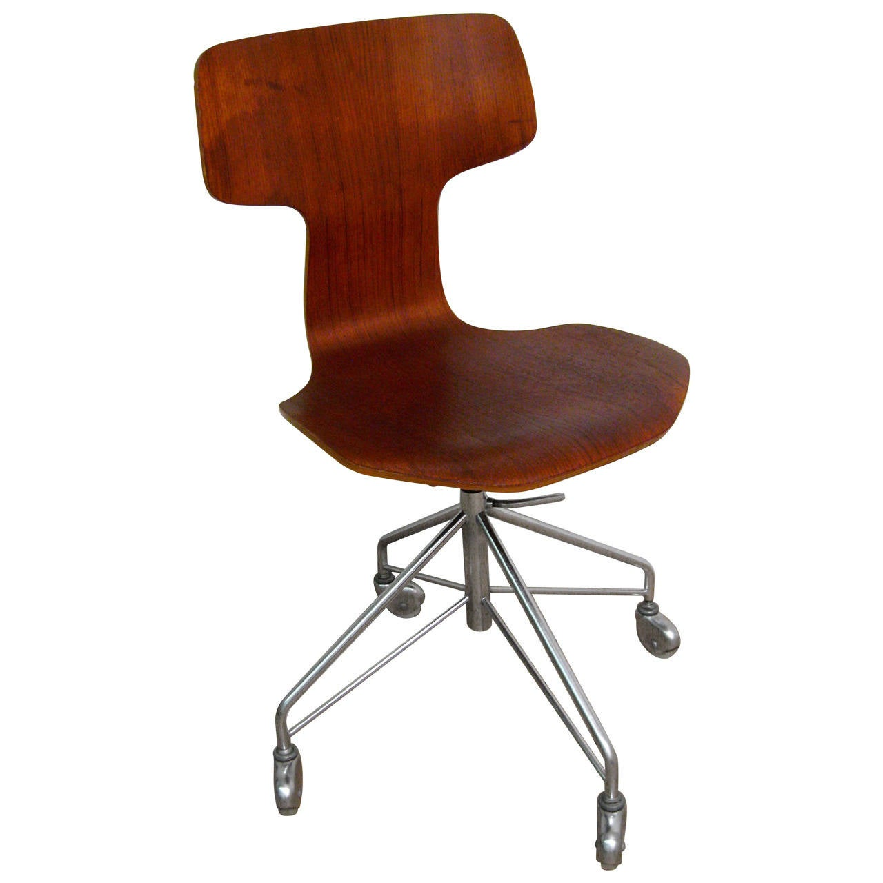 arne jacobsen for fritz hansen teak desk chair model 3103 at 1stdibs. Black Bedroom Furniture Sets. Home Design Ideas