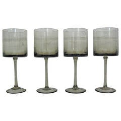 1960s Modernist Smoked Glass Wine Goblets, Set of Four