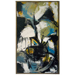 1950s Signed Abstract Expressionist Oil on Canvas Painting