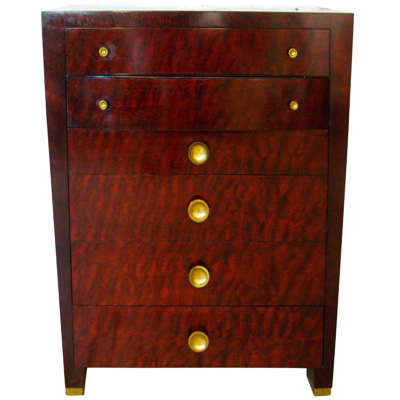 Art Moderne Quilted Sapele African Mahogany Tall Dresser