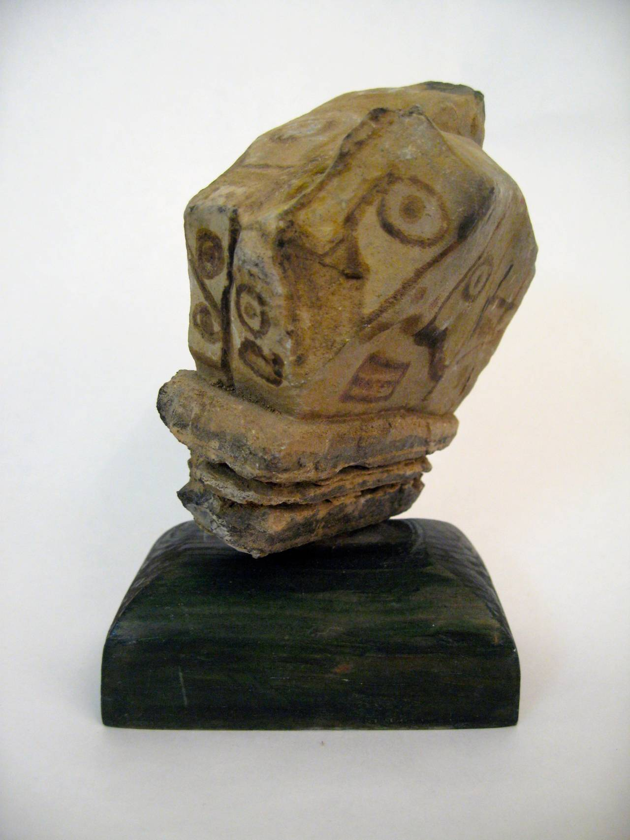 modern primitive stone painted faces sculpture for sale at 1stdibs. Black Bedroom Furniture Sets. Home Design Ideas
