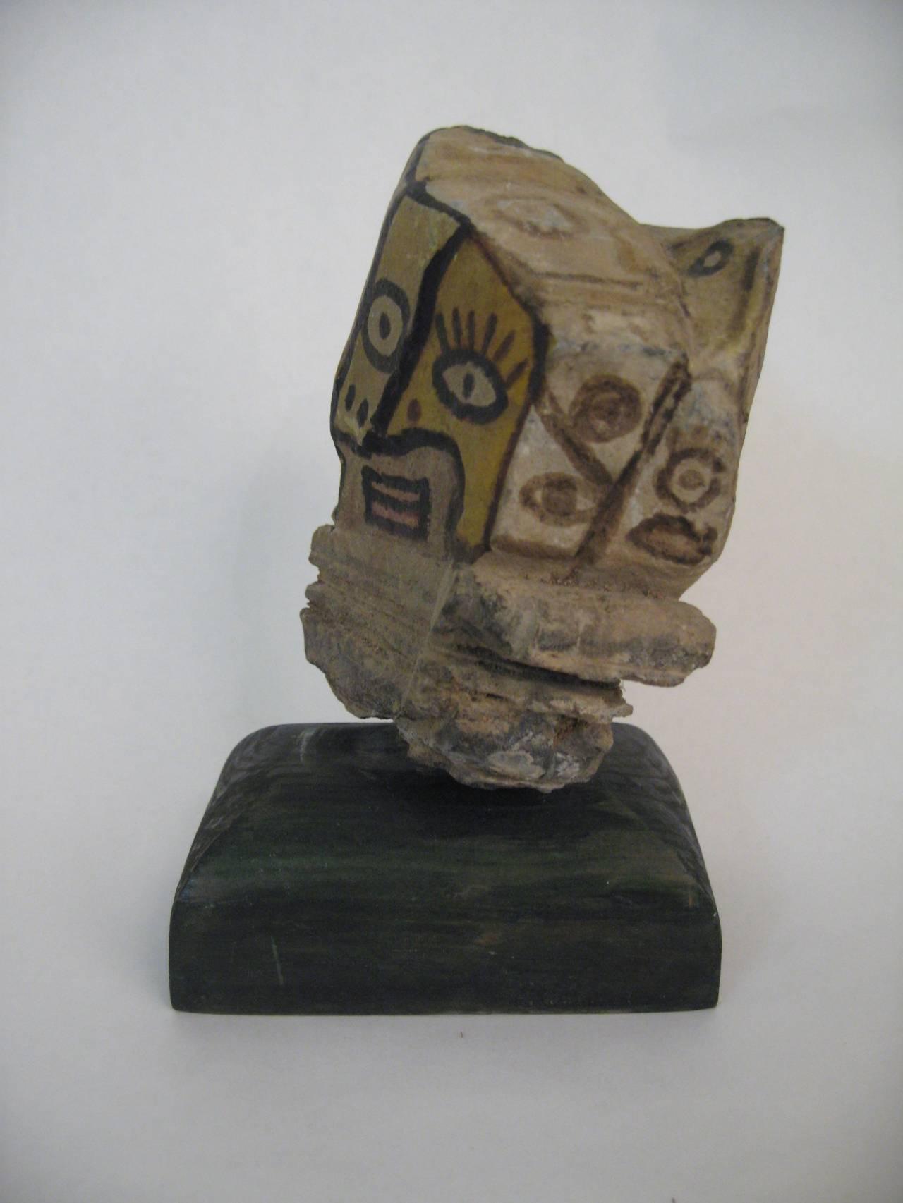 Modern primitive stone painted quot faces sculpture for sale