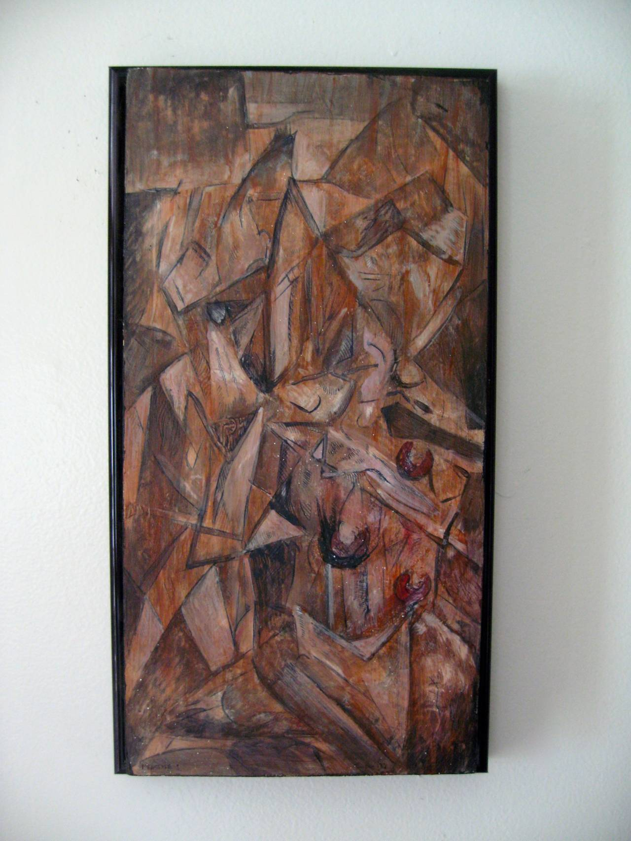 """American """"Fracture 1"""" Cubist Painting For Sale"""