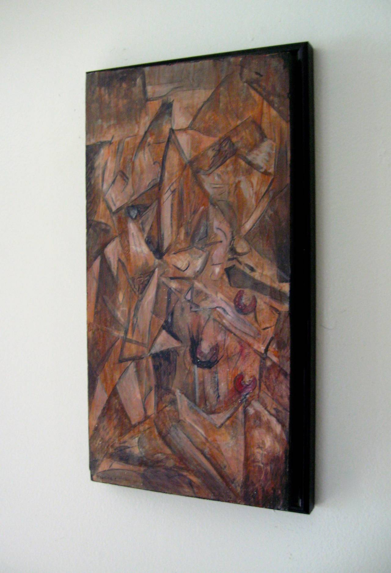 "Entitled, ""Fracture 1"", signed illegibly and dated either 1982 or 1992. The medium is oil paint on thick pine board. Labor intensive Cubist rendering of a kneeling figure and geometric shapes. The board is backed with a black metal frame"