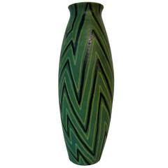 Signed Alvino Bagni Matte Green Pottery Vase