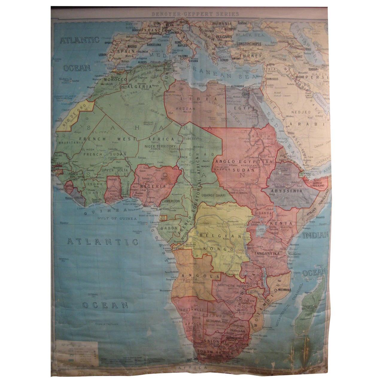 1923 denoyer geppert school house map of africa at 1stdibs