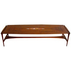 Walnut and Enamel John Stuart Coffee Table in the Manner of Ray Sabota