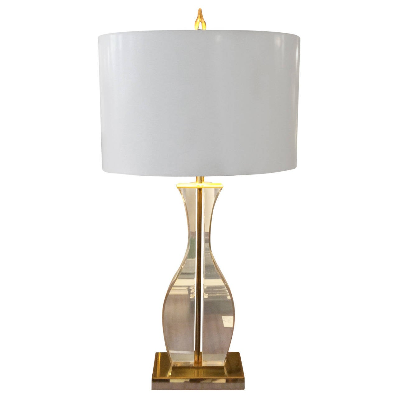 Sculptural Lucite and Brass Table Lamp