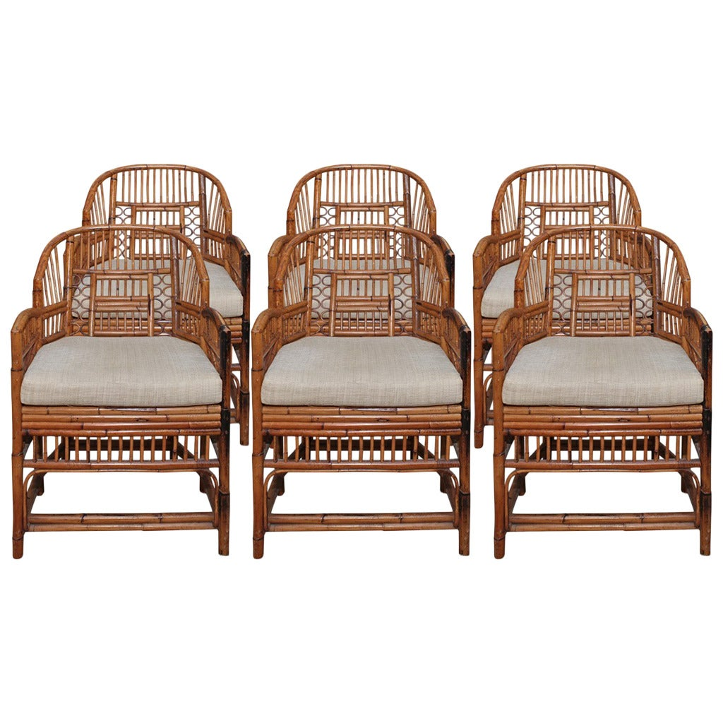 Set Of Six Vintage Bamboo And Rattan Chippendale Chairs For Sale