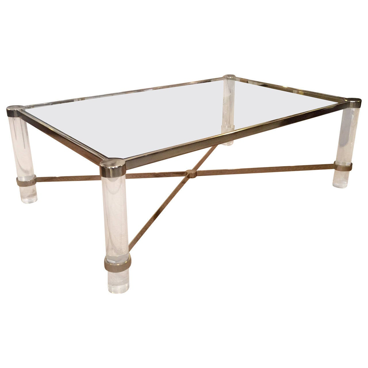 Lucite Coffee Table Mixed Metal Details In The Manner Of Karl Springer At 1stdibs