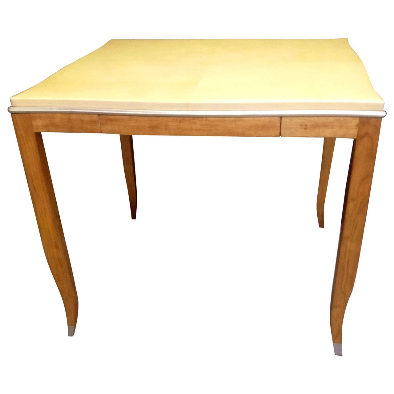 Lacquered goatskin and silver leaf game table for sale at for Lacquered furniture