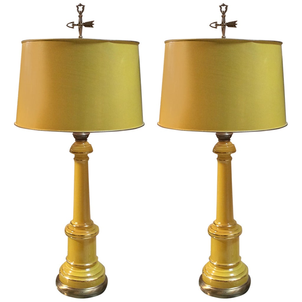 Mid century pair of yellow opaline table lamps by warren kessler mid century pair of yellow opaline table lamps by warren kessler nyc 1 mozeypictures Choice Image