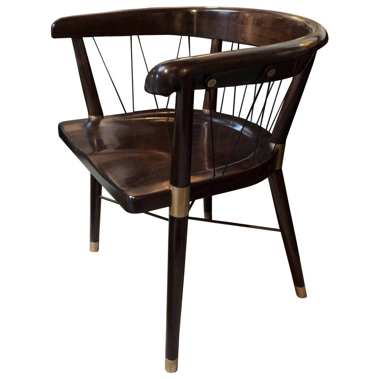 Edward wormley chair with brass fittings and cord back at 1stdibs - Edward wormley chairs ...