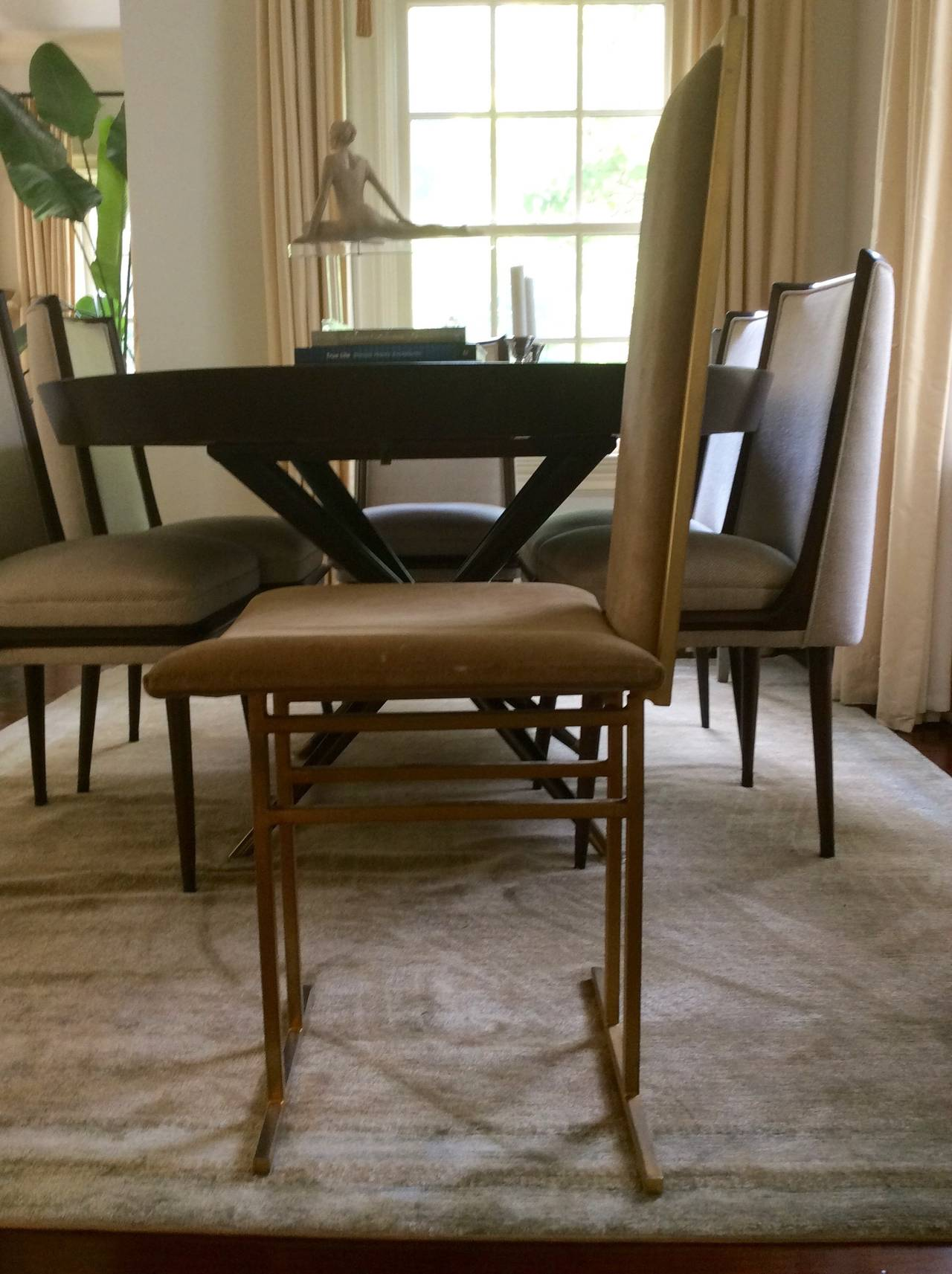set of eight french suede and gilt metal dining chairs manner of milo