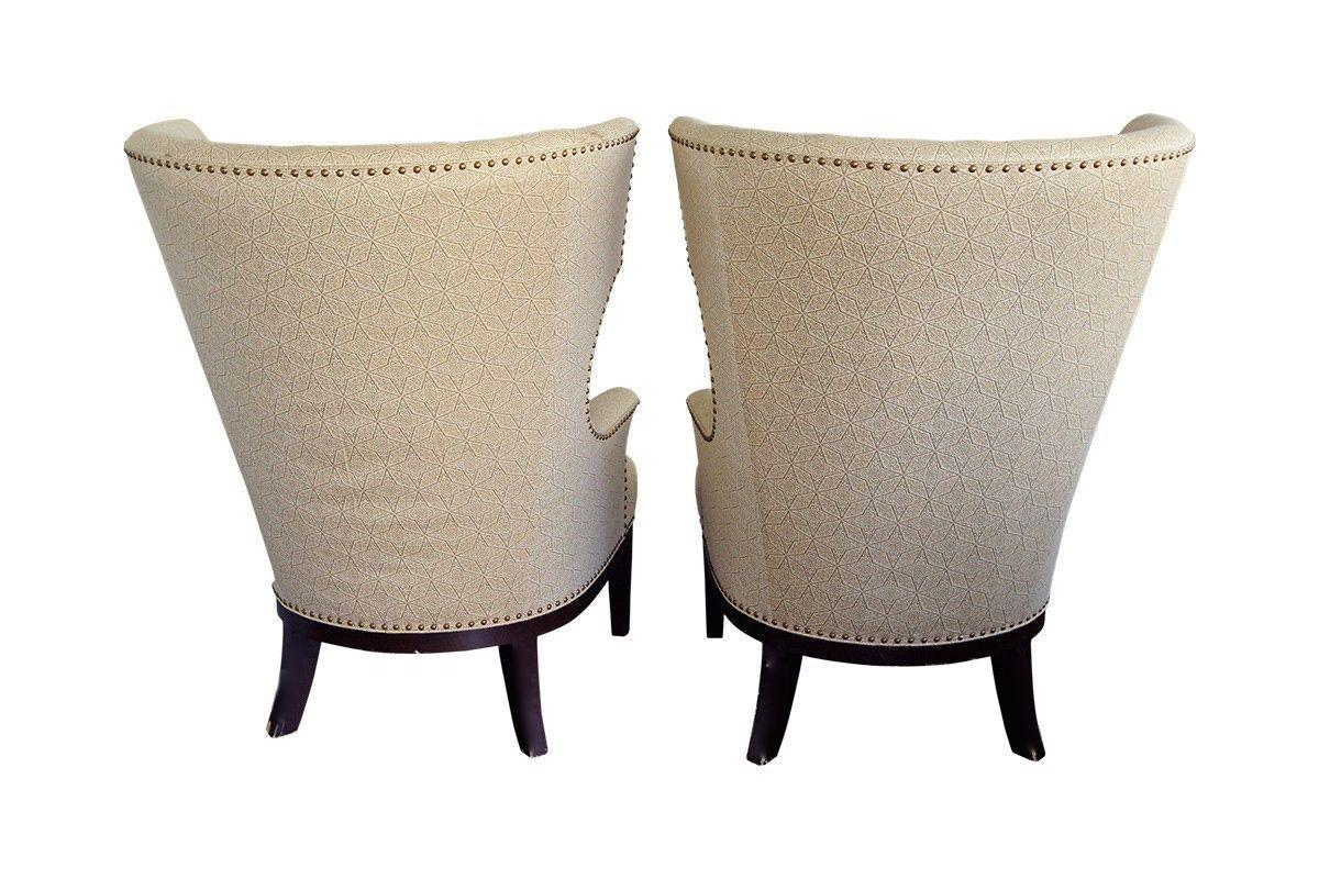 Pair Of Classic Upholstered Wingback Chairs With Nailhead