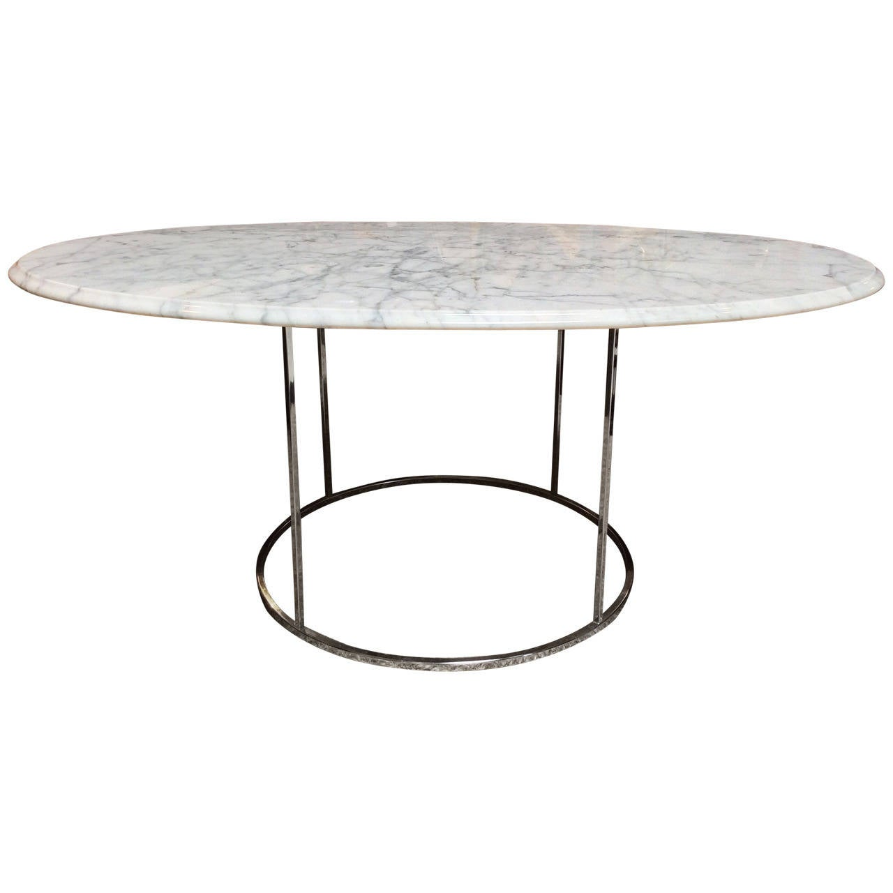 Carrera marble and chrome cocktail coffee table in the for Table carrera