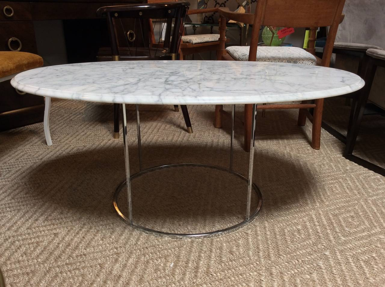 Carrera Marble And Chrome Cocktail Coffee Table In The Manner Of Milo Baughman At 1stdibs