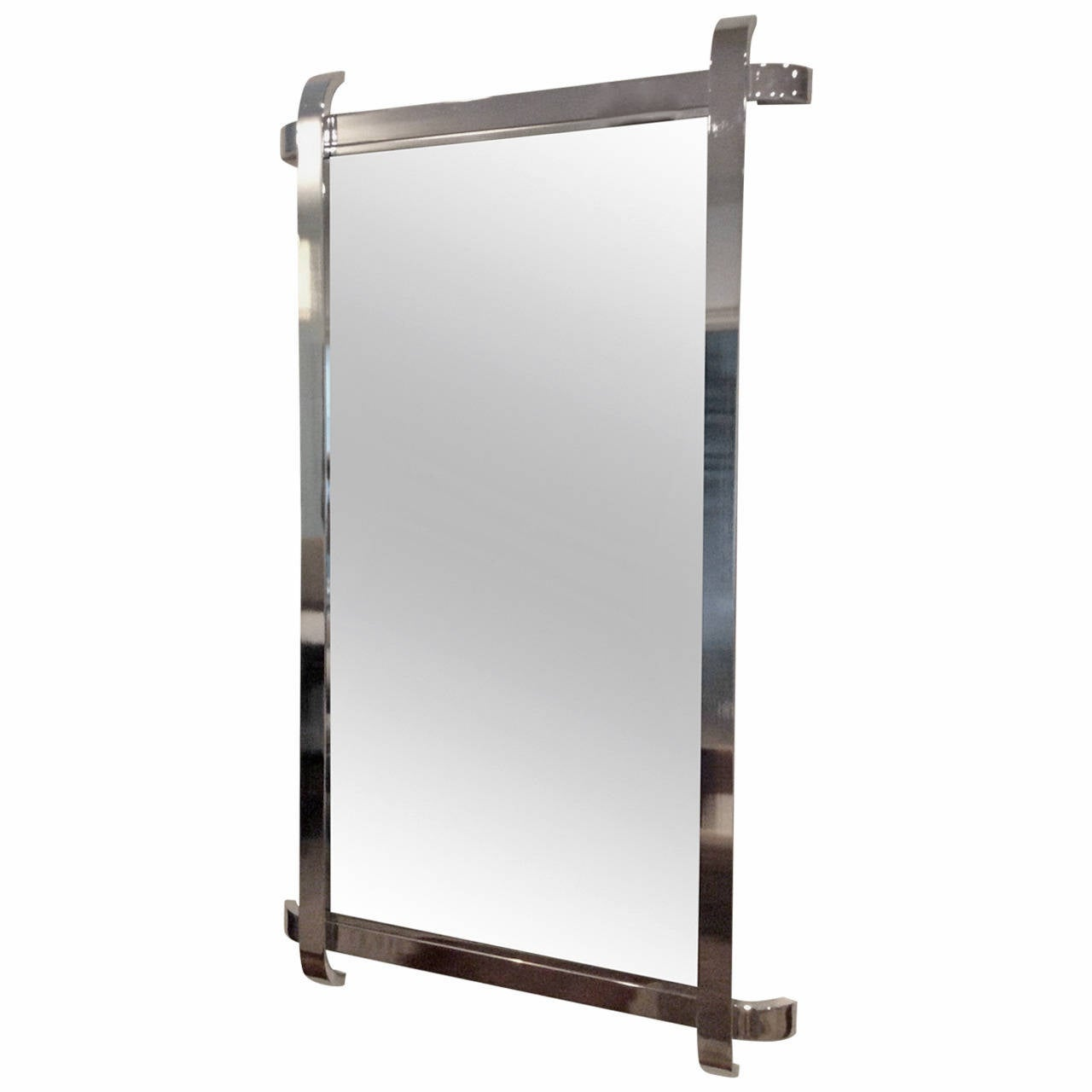 chrome framed mirror with sculptural curved overlapping edges 1