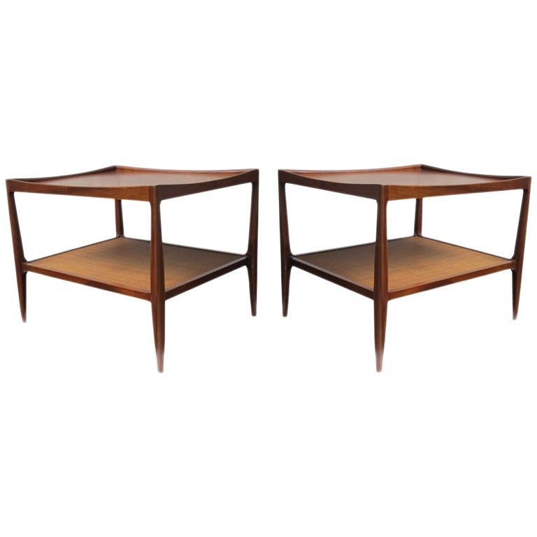 Mid Century Drexel Heritage Walnut Side Tables With Caned