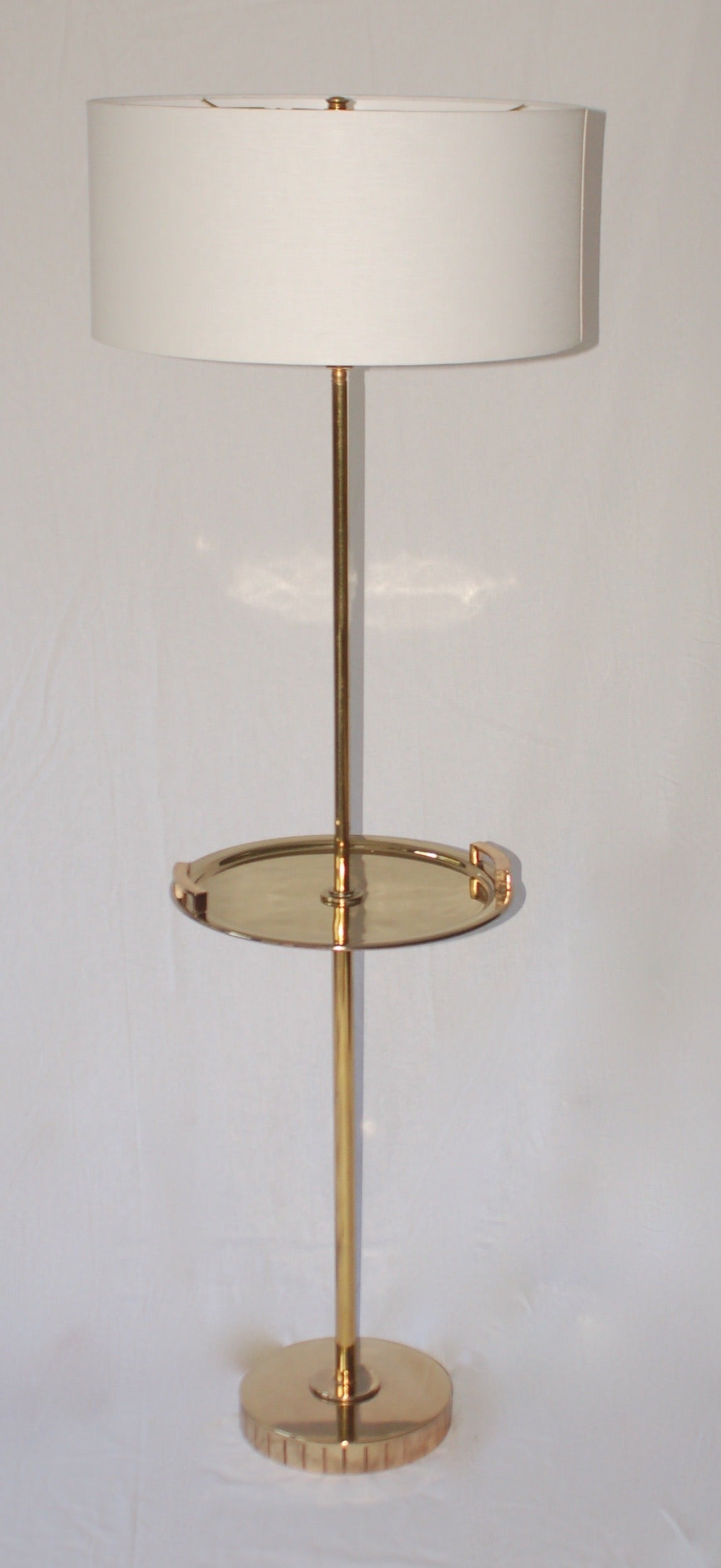 brass floor standing lamp with brass tray table at 1stdibs. Black Bedroom Furniture Sets. Home Design Ideas