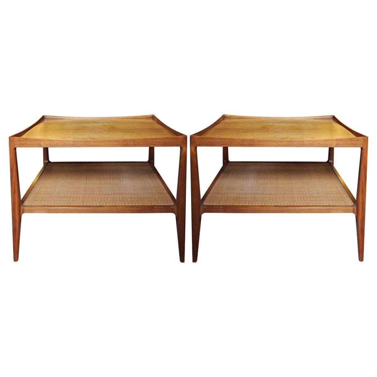 Mid-Century Drexel Heritage Walnut Side Tables with Caned Shelves ...