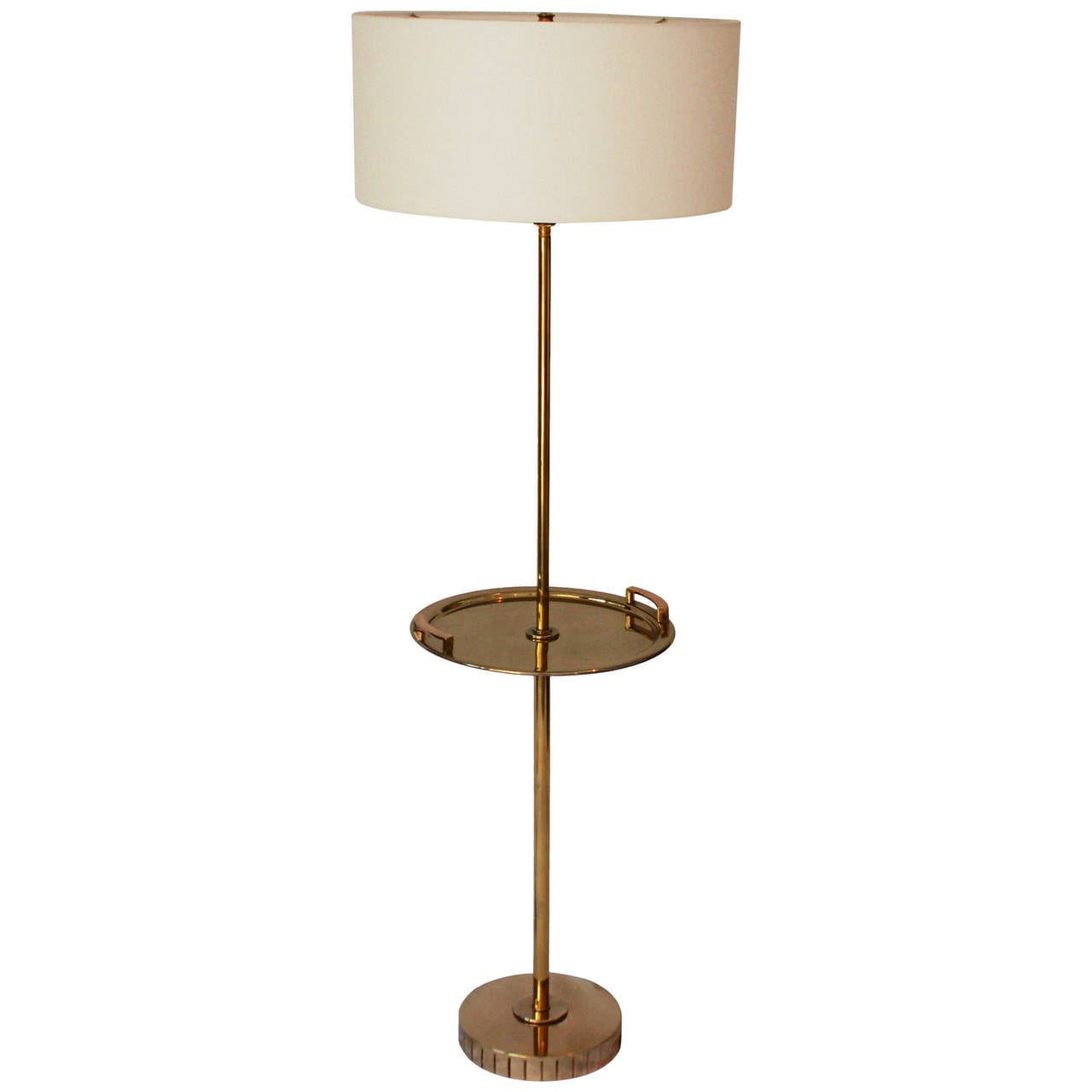 Brass floor standing lamp with brass tray table at 1stdibs for Floor lamp with table