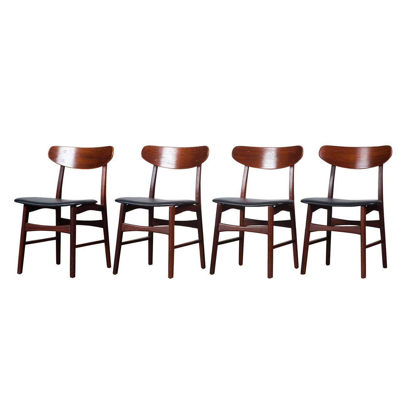Set Of Four 20th Century Danish Teak Dining Chairs At 1stdibs