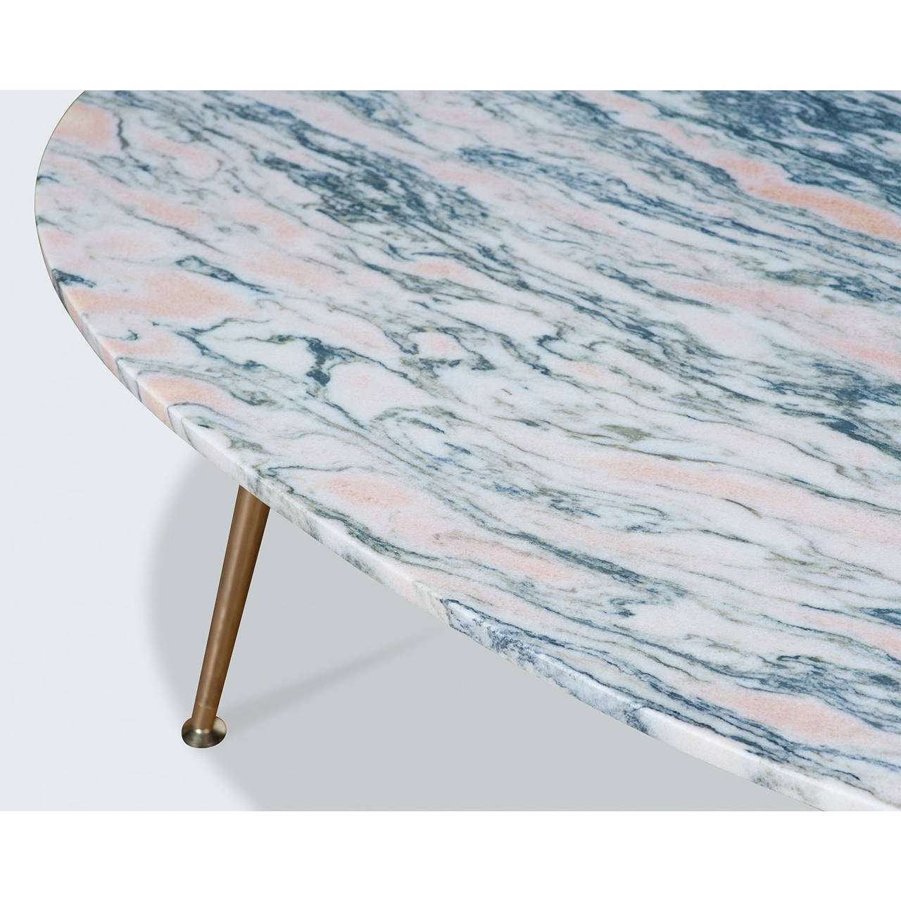 Marble Coffee Table With Copper Legs: Pink Marble Coffee Table With Brass Legs By Modern Times