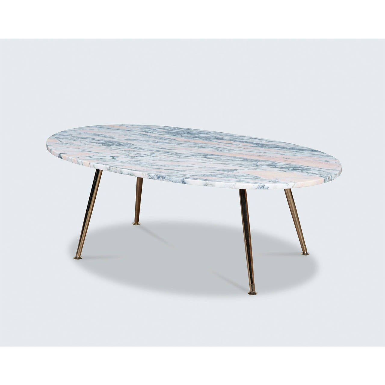 Pink Marble Coffee Table With Brass Legs By Modern Times