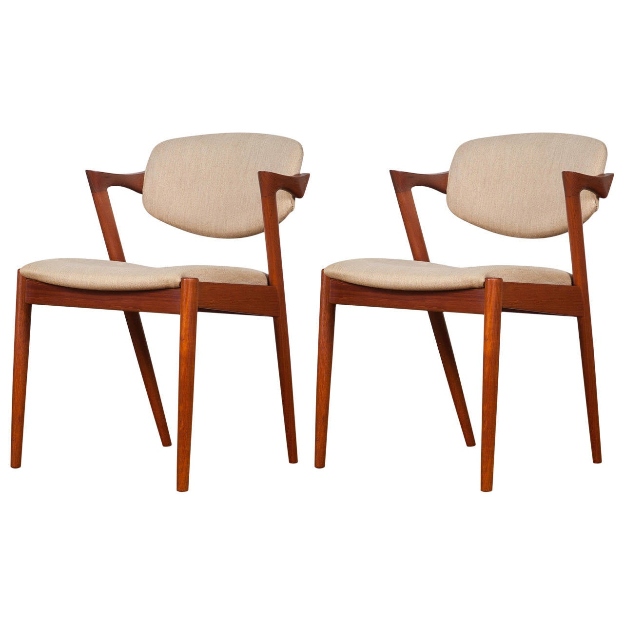 pair of mid century danish model 42 teak dining chairs by kai