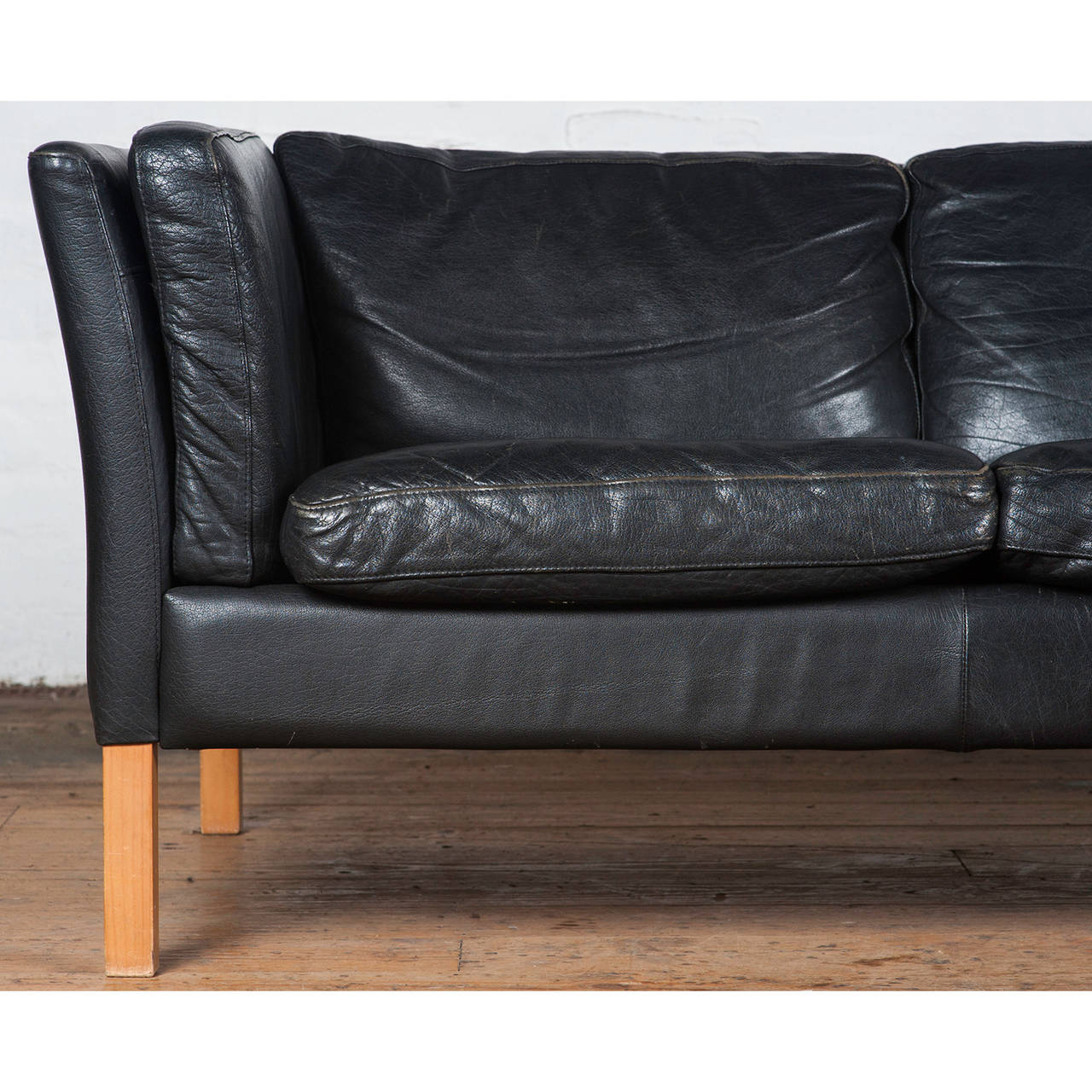 mid century danish black leather sofa by stouby 3 black leather mid century