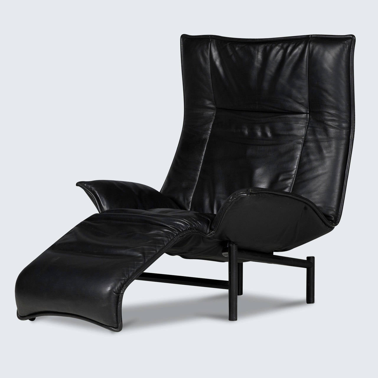 Verandah armchair in black leather 1983 for sale at 1stdibs