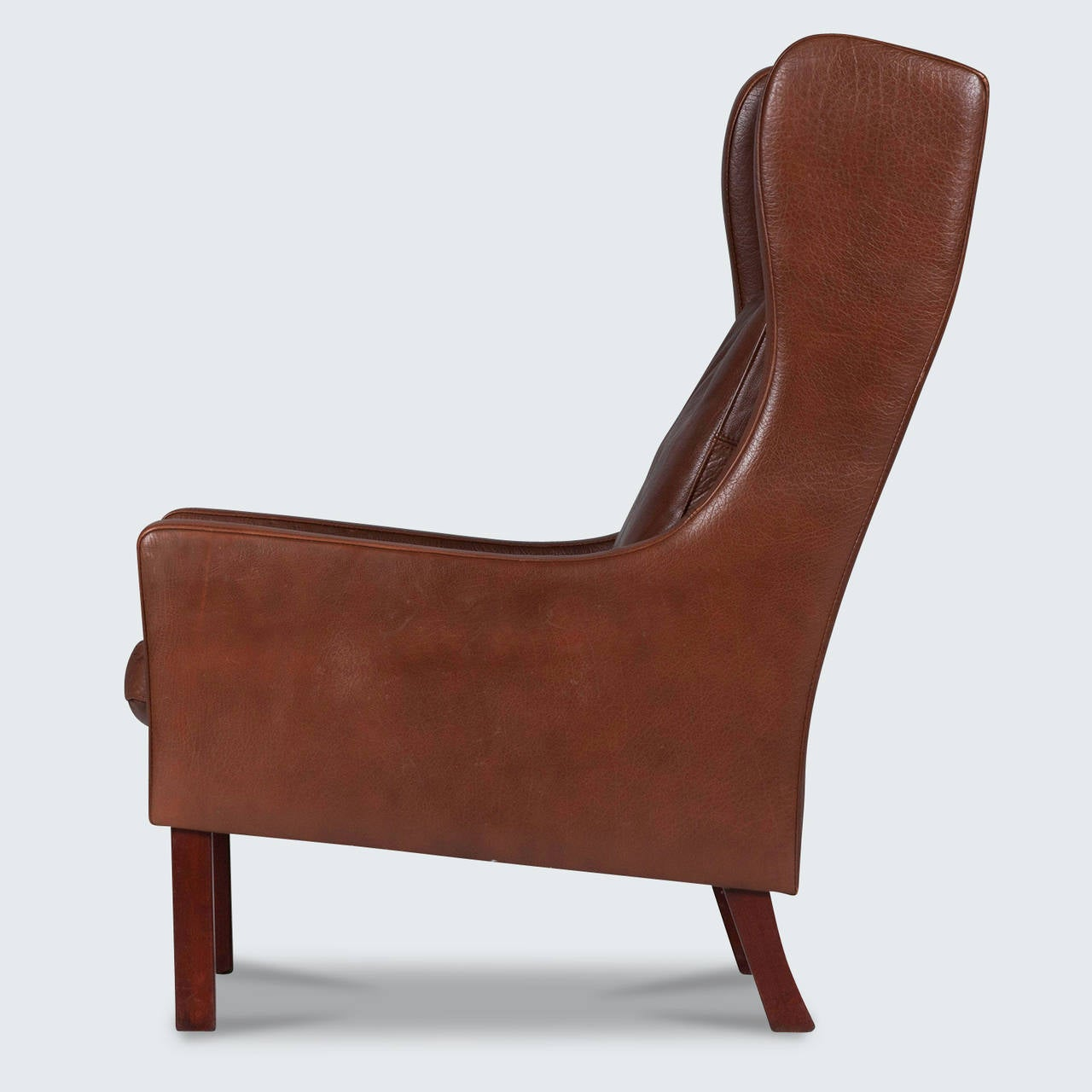 Vintage Danish Wingback Armchair In Dark Brown Leather