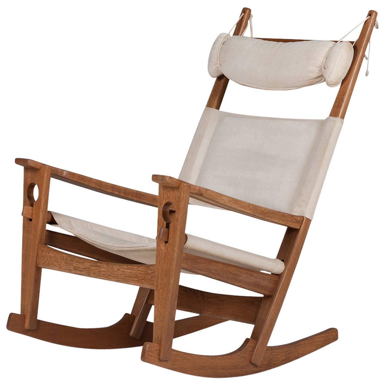 Vintage Danish Keyhole 675 Rocking Chair By Hans J Wegner