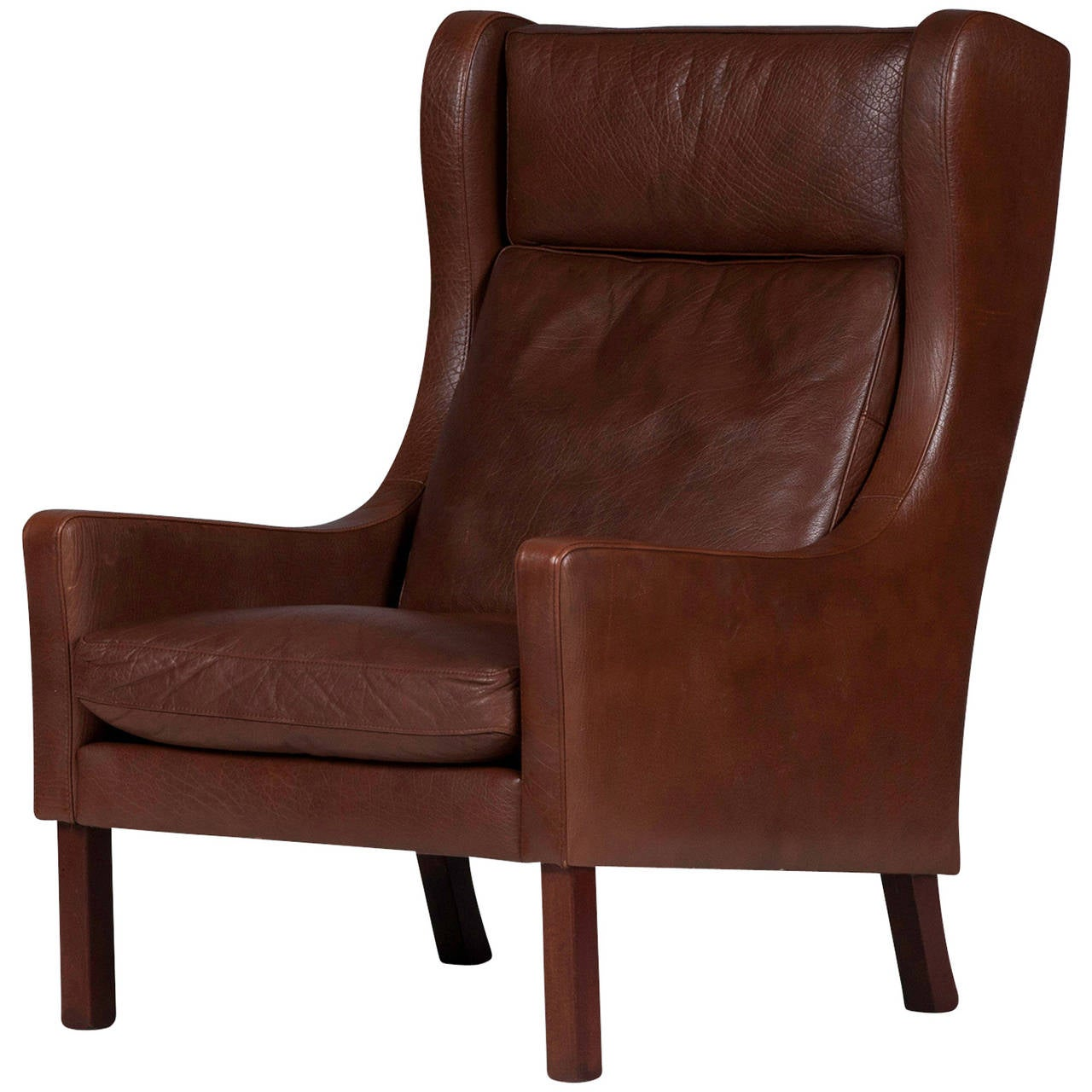 1960s Missoni Wingback Chair At 1stdibs: Vintage Danish Wingback Armchair In Dark Brown Leather