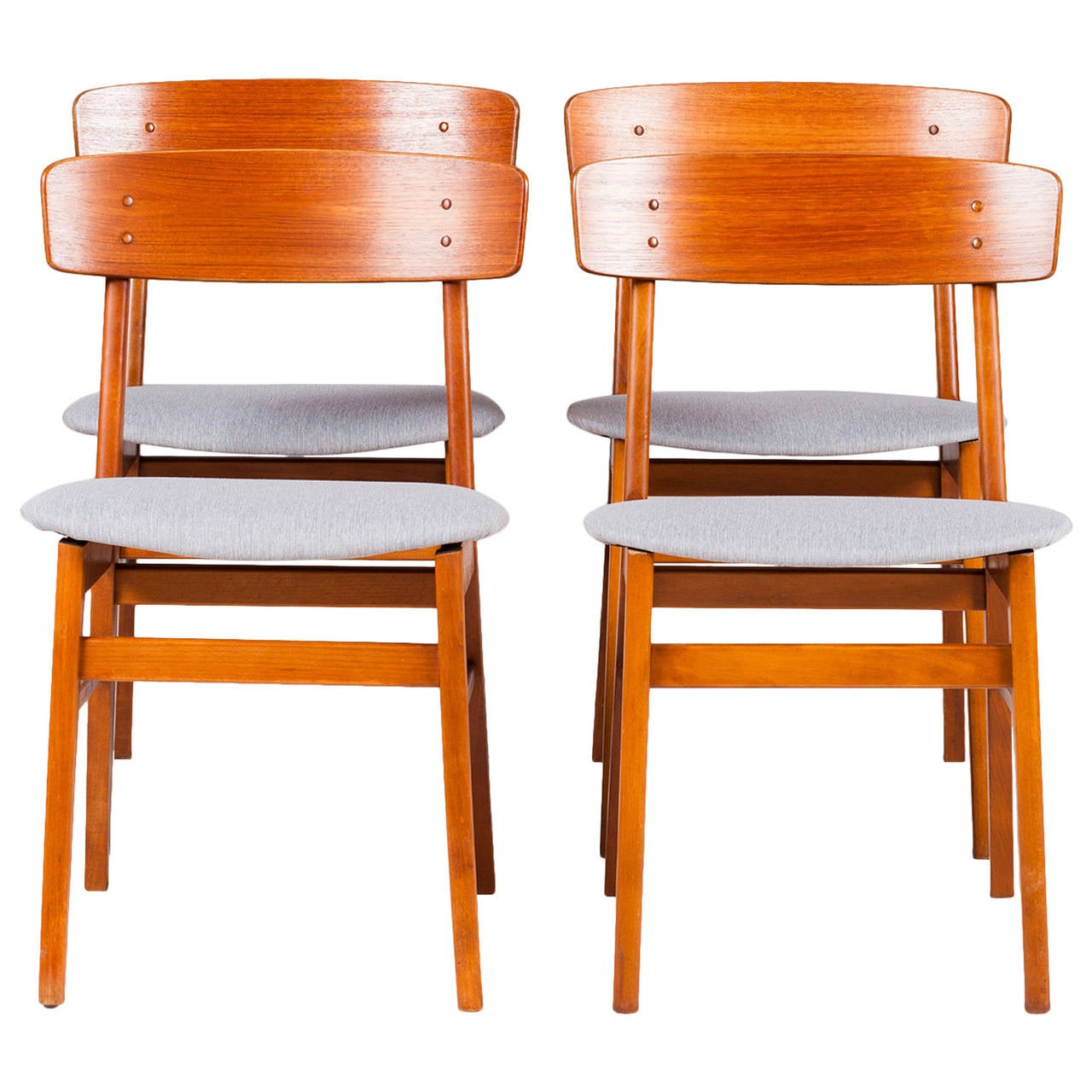 danish farstrup square back dining chairs in teak set of four 1960s