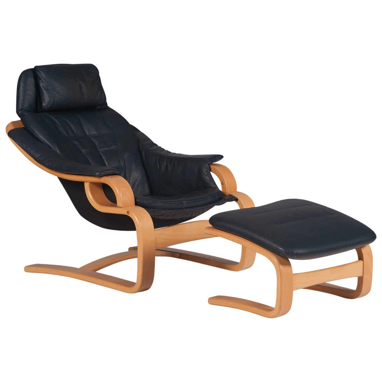 Danish black leather armchair with footstool 1970s at 1stdibs for Black leather footstool