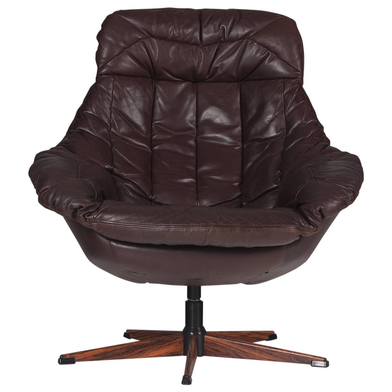 danish brown leather swivel chair by h w klein 1970s at 1stdibs