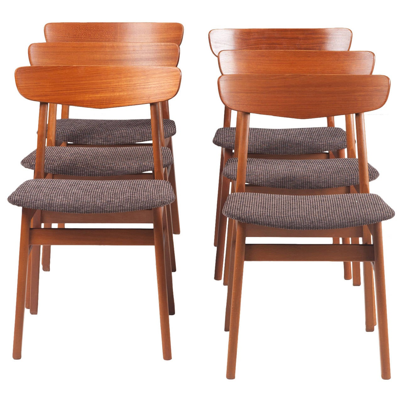 Danish farstrup v back dining chairs in teak set of six for Danish furniture
